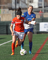 Cambrdige, Massachusetts - April 26, 2015: First half action. In a National Women's Soccer League (NWSL) match, Boston Breakers (blue) vs Houston Dash (orange/white), 2-1 (halftime), at Soldiers Soccer Field.