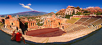 Taormina Greek Ampitheatre with Mount Etna Volcano in the distance, Sicily