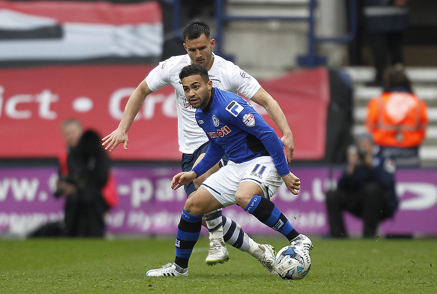 Preston North End's John Welsh battles with Rochdale's Reuben Noble-Lazarus<br /> <br /> Photographer Mick Walker/CameraSport<br /> <br /> Football - The Football League Sky Bet League One - Preston North End v Rochdale -  Friday 3rd April 2015 - Deepdale - Preston<br /> <br /> &copy; CameraSport - 43 Linden Ave. Countesthorpe. Leicester. England. LE8 5PG - Tel: +44 (0) 116 277 4147 - admin@camerasport.com - www.camerasport.com
