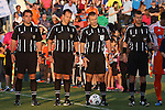 02 May 2015: Match officials. From left: Assistant Referee Kevin Broadley, Fourth Official Michael Rhinehart, Referee Chris Penso, and Assistant Referee Jim Conlee. The Carolina RailHawks hosted the Tampa Bay Rowdies at WakeMed Stadium in Cary, North Carolina in a North American Soccer League 2015 Spring Season match. The game ended in a 1-1 tie.