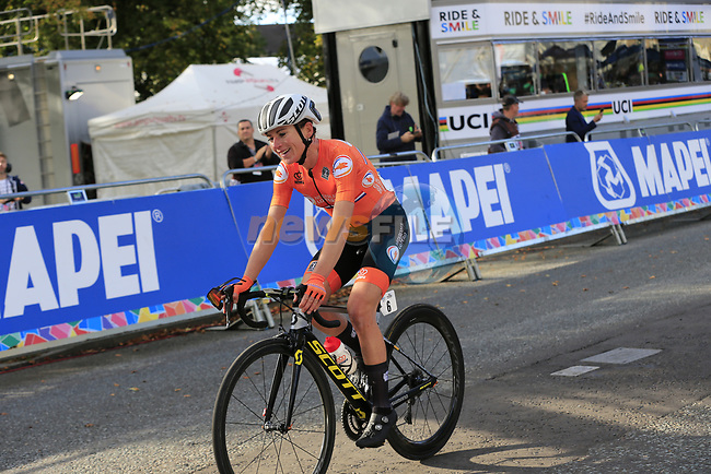 "Annemiek Van Vleuten (NED) wins by 2'15"" the Women Elite Road Race of the UCI World Championships 2019 running 149.4km from Bradford to Harrogate, England. 28th September 2019.<br /> Picture: Eoin Clarke 