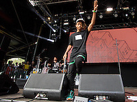 Jaden Smith comes out to start his performance with Brooklyn Beckham watching on from the crowd to the right during The New Look Wireless Music Festival at Finsbury Park, London, England on Sunday 05 July 2015. Photo by Andy Rowland.