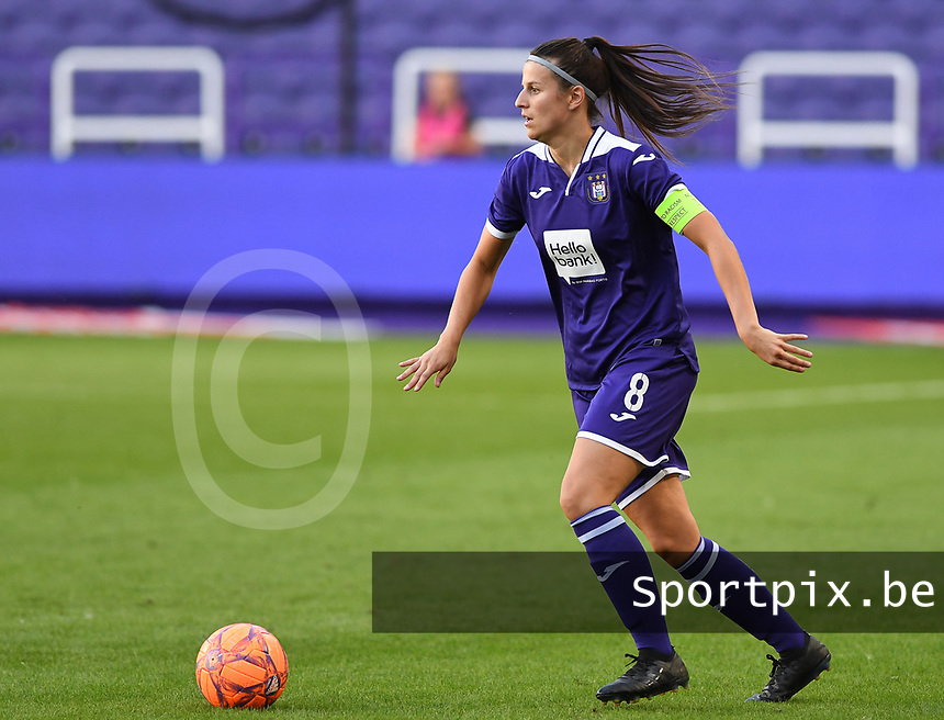 20190807 - ANDERLECHT, BELGIUM : Anderlecht's Laura De Neve pictured during the female soccer game between the Belgian RSCA Ladies – Royal Sporting Club Anderlecht Dames  and the Greek FC PAOK Thessaloniki ladies , the first game for both teams in the Uefa Womens Champions League Qualifying round in group 8 , Wednesday 7 th August 2019 at the Lotto Park Stadium in Anderlecht  , Belgium  .  PHOTO SPORTPIX.BE | DAVID CATRY