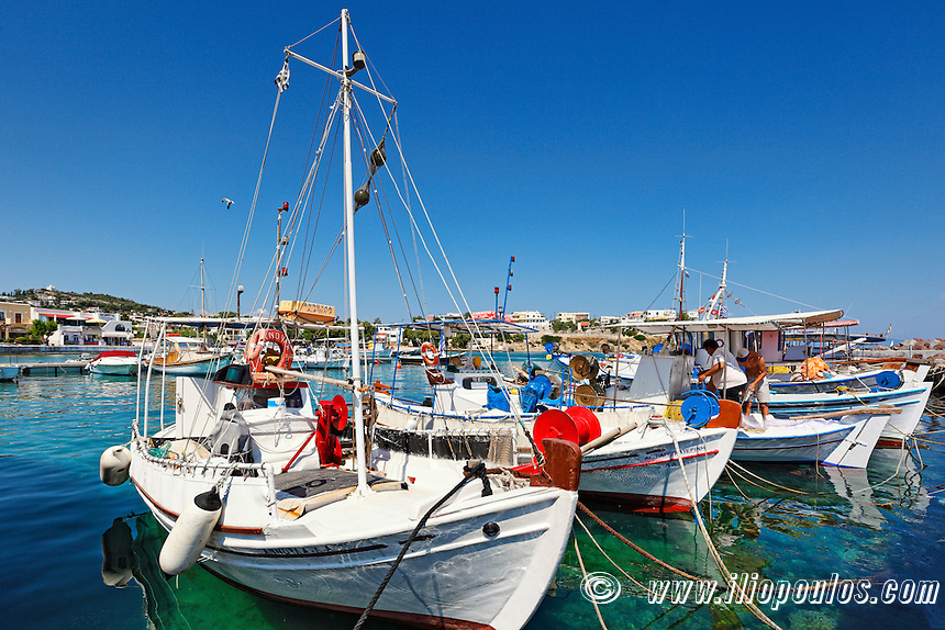 Fishing boats at the port of Souvala in Aegina island, Greece
