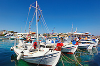 Fishing boats at the port of Souvala in Aegina island, Greece