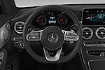 Car pictures of steering wheel view of a 2019 Mercedes Benz C-Class AMG-Line 2 Door Coupe Steering Wheel