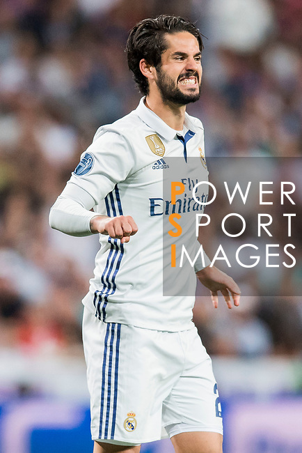 Isco Alarcon of Real Madrid reacts during their 2016-17 UEFA Champions League Quarter-finals second leg match between Real Madrid and FC Bayern Munich at the Estadio Santiago Bernabeu on 18 April 2017 in Madrid, Spain. Photo by Diego Gonzalez Souto / Power Sport Images