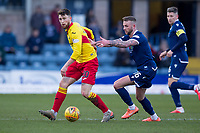 8th February 2020; Dens Park, Dundee, Scotland; Scottish Championship Football, Dundee versus Partick Thistle; Jamie Barjonas of Partick Thistle and Christie Elliott of Dundee