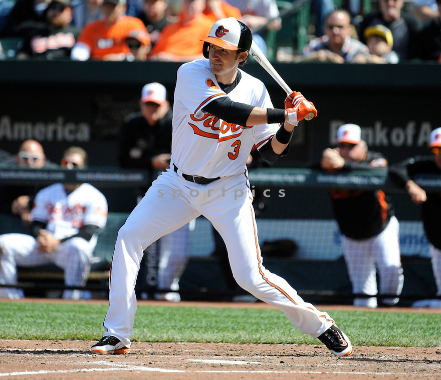 Baltimore Orioles Ryan Flaherty (3)  during a game against the Los Angeles Dodgers on April 21, 2013 at Oriole Park in Baltimore, MD. The Dodgers beat the Orioles 7-4.