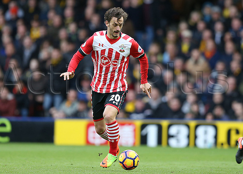 March 4th 2017, Vicarage Road, Watford, Herts, England;  EPL Premier League football, Watford versus Southampton; Manolo Gabbiadini of Southampton brings the ball forward