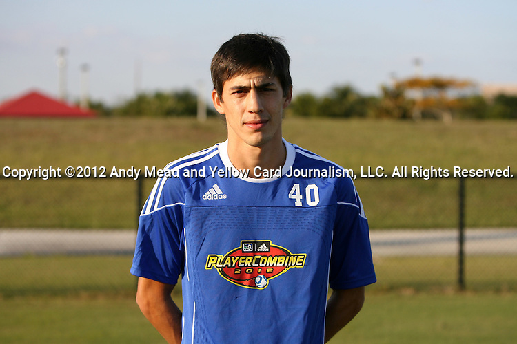 06 January 2012: Emiliano Bonfigli (ARG). The 2012 MLS Player Combine was held on the cricket oval at Central Broward Regional Park in Lauderhill, Florida.