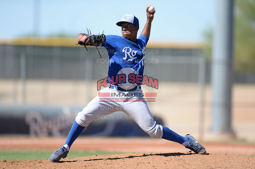 Kansas City Royals pitcher Javier Reynoso (11) during an instructional league game against the Seattle Mariners on October 2, 2013 at Surprise Stadium Training Complex in Surprise, Arizona.  (Mike Janes/Four Seam Images)