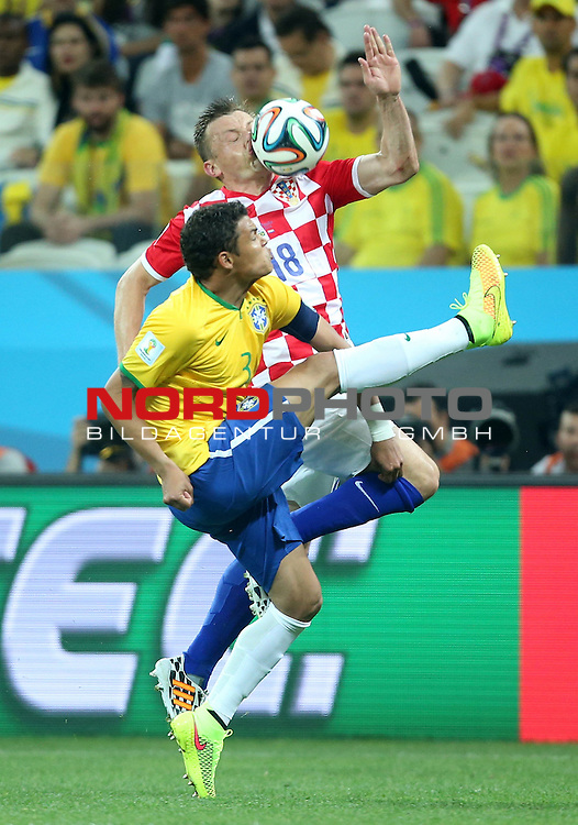 2014 Fifa World Cup opening game from group A against Brazil and Croatia.<br /> Ivica Olic, T Silva<br /> <br /> <br /> Foto &copy;  nph / PIXSELL / Sajin Strukic