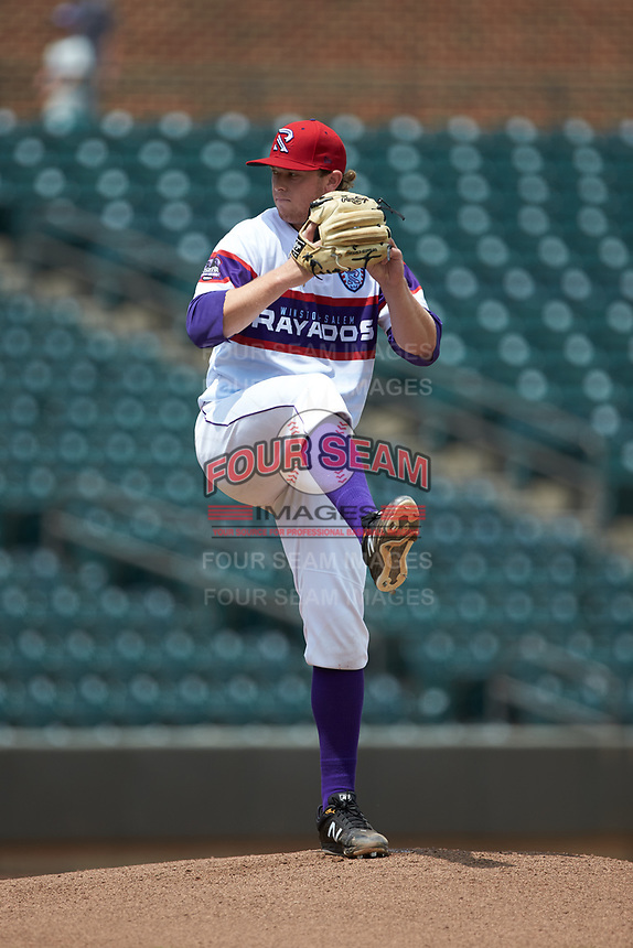 Winston-Salem Rayados starting pitcher John Parke (28) in action against the Potomac Nationals at BB&T Ballpark on August 12, 2018 in Winston-Salem, North Carolina. The Rayados defeated the Nationals 6-3. (Brian Westerholt/Four Seam Images)