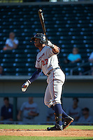 Scottsdale Scorpions outfielder Adam Brett Walker II (27) hits a home run during an Arizona Fall League game against the Mesa Solar Sox on October 19, 2015 at Sloan Park in Mesa, Arizona.  Scottsdale defeated Mesa 10-6.  (Mike Janes/Four Seam Images)