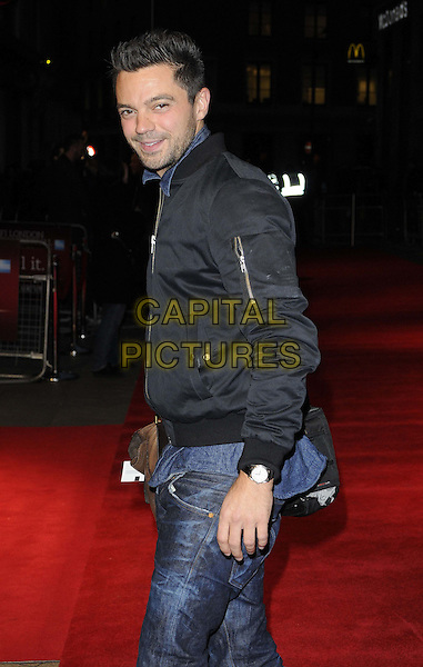 Dominic Cooper.The 'Everyday' official screening, the 56th BFI London Film Festival day 8, Odeon West End cinema, Leicester Square, London, England,.October 17th, 2012.half length black jacket jeans denim side stubble facial hair.CAP/CAN.©Can Nguyen/Capital Pictures.