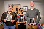 WATERBURY, CT. 07 May 2018-050718BS20 - From left, Crosby High Student Mya Atwood of Waterbury, Waterbury Career Academy student Breanna Arce of Waterbury, and Westside Middle School student Trevor Bassett of Waterbury stand together after being recognized and receiving awards during the 15th Annual Excellence in Youth Awards at the Waterbury Youth Services on Monday evening. Bill Shettle Republican-American
