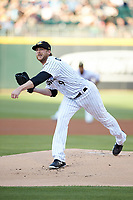 Charlotte Knights starting pitcher Ross Detwiler (9) follows through on his delivery against the Rochester Red Wings at BB&T BallPark on May 14, 2019 in Charlotte, North Carolina. The Knights defeated the Red Wings 13-7. (Brian Westerholt/Four Seam Images)