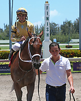 HALLANDALE BEACH, FL - JULY 01:   #1 Diamond Oops (KY) wth jockey Luis Saez enters the winner's circle after winning the Kiss a Native Stakes on Summit Of Speed Day at Gulfstream Park on July 01, 2017 in Hallandale Beach, Florida. (Photo by Liz Lamont/Eclipse Sportswire/Getty Images)