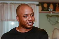 Kevin Overton of Philadelphia, Pennsylvania speaks about her newly found sister Sally Armstrong of Dallas, Texas Saturday, May 19, 2018 in Philadelphia, Pennsylvania. Sally Armstrong used a 23andMe Health + Ancestry kit to find her four half siblings. She met them for the first time Friday. (Photo by William Thomas Cain/CAIN IMAGES)
