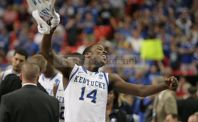 UK freshman forward Michael Kidd-Gilchrist celebrates after the second half of the UK vs. Baylor South Regional Finals at the Georgia Dome in Atlanta,  March 25, 2012. UK defeated Baylor 82-70. Photo by Brandon Goodwin | Staff