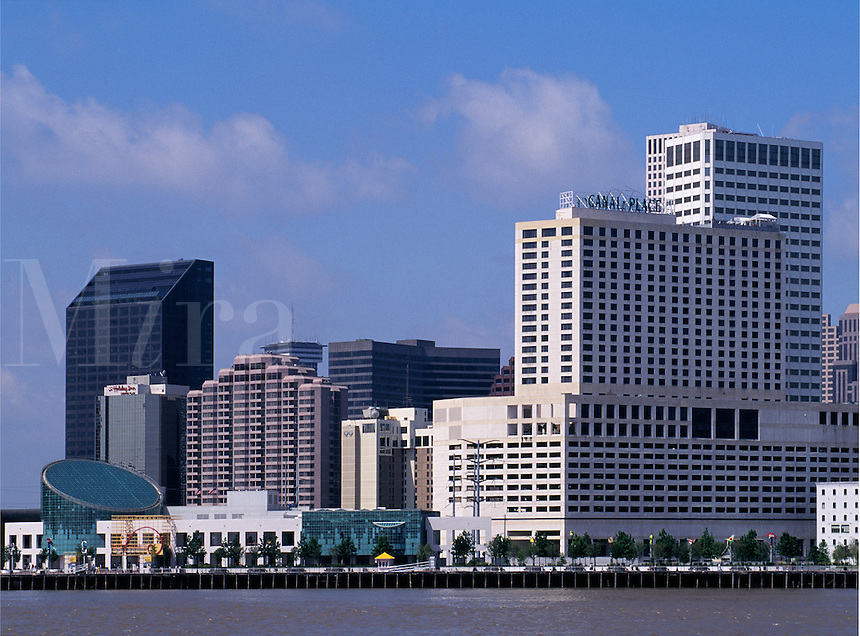 Louisiana, New Orleans Skyline, Riverwalk, Waterfront And Mississippi River View From Gretn