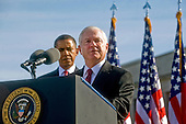 United States Secretary of Defense Robert M. Gates addresses the audience at the Pentagon Memorial, during a ceremony with U.S. President Barack Obama and Chairman of the Joint Chiefs of Staff Admiral Mike Mullen, marking the ninth anniversary of the September 11 attacks, Saturday, September 11, 2010.  .Mandatory Credit: Cherie Cullen - DoD via CNP