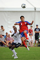 Juan Andres Monge (4) of Costa Rica goes for a header. The US U-20 Men's National Team defeated the U-20 Men's National Team of Costa Rica 2-1 in an international friendly during day four of the US Soccer Development Academy  Spring Showcase in Sarasota, FL, on May 25, 2009.