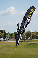 Signage blowing in the strong wind during Wednesday Pro-Am of the Portugal Masters, Dom Pedro Victoria Golf Course, Vilamoura, Vilamoura, Portugal, 23/10/2019<br /> Picture Andy Crook / Golffile.ie<br /> <br /> All photo usage must carry mandatory copyright credit (© Golffile | Andy Crook)