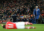 Arsenal's Arsene Wenger complains to referee Mike Jones<br /> <br /> Barclays Premier League- Arsenal vs Leicester City  - Emirates Stadium - England - 10th February 2015 - Picture David Klein/Sportimage