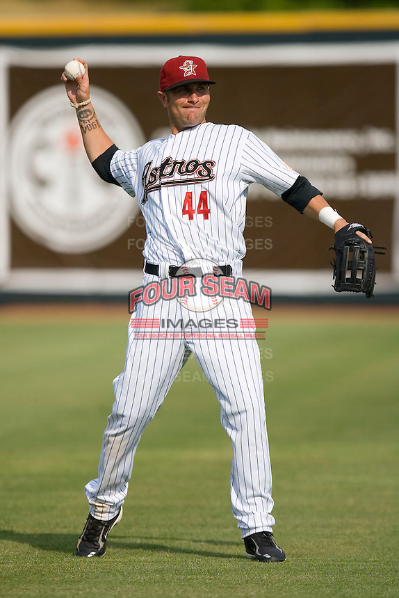 Nathan Metroka #44 of the Greeneville Astros warms up at Pioneer Park June 28, 2009 in Greeneville, Tennessee. (Photo by Brian Westerholt / Four Seam Images)
