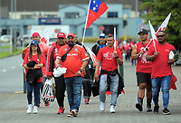Fans arrive for 2017 Rugby League World Cup pool match between Tonga and Samoa at the FMG Stadium in Hamilton, New Zealand on Saturday, 4 November 2017. Photo: Dave Lintott / lintottphoto.co.nz
