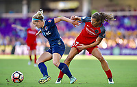 Orlando, FL - Saturday October 14, 2017: Kristen Hamilton, Tobin Heath during the NWSL Championship match between the North Carolina Courage and the Portland Thorns FC at Orlando City Stadium.