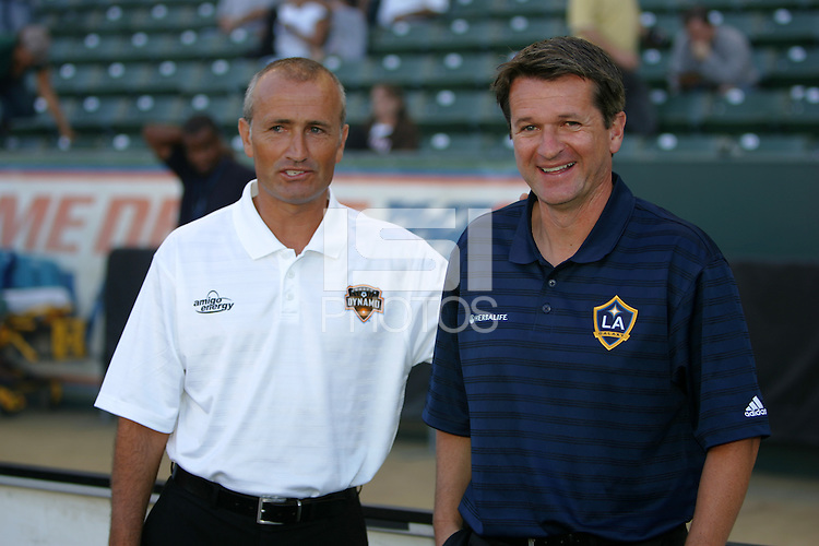 Head coaches of Houston Dynamo Dominic Kinnear (l) and LA Galaxy Frank Yallop (r) have a laugh before the start of the match. The Houston Dynamo defeated the LA Galaxy 3-1 at the Home Depot Center in Carson, CA, Sunday, September 16, 2007.