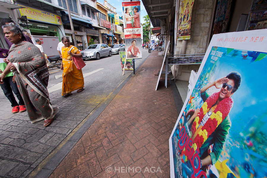 Malaysia, Penang. Old Georgetown Streets - a UNESCO World Heritage site. Little India. Shah Rukh Khan poster.