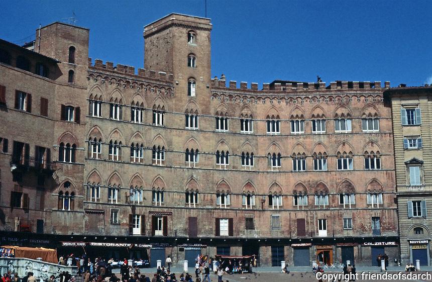 Siena:  Palazzo Sansedoni, 1216-1339.  In Piazza Del Campo.  Photo '83.