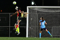Piscataway, NJ, May 7, 2016.  Goalkeeper Caroline Stanley (18) of Sky Blue FC punches the ball away from forward Jessica McDonald of the Western New York Flash as defender Erica Skroski (8) looks on.  The Western New York Flash defeated Sky Blue FC, 2-1, in a National Women's Soccer League (NWSL) match at Yurcak Field.