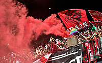 Portland, OR - Saturday April 15, 2017: Portland Thorns FC supporters during a regular season National Women's Soccer League (NWSL) match between the Portland Thorns FC and the Orlando Pride at Providence Park.