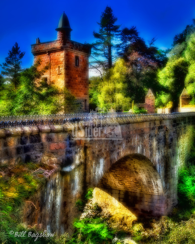 The entrance to Glen Tanar, on Royal Deeside near Aboyne. This is more correctly known as the Bridge of Ess and the Tower of Ess - the entrance lodge to Glen Tanar Estate. The bridge spans the Water of Tanar. Glen Tanar is Royal Deeside's &quot;other&quot; famous picturesque Scottish glen often, overlooked by visitors to Glen Muick.<br />