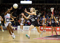 28.07.2015 Silver Ferns Shannon Francois in action during the Silver Fern v South Africa netball test match played at Trusts Arena in Auckland. Mandatory Photo Credit ©Michael Bradley.