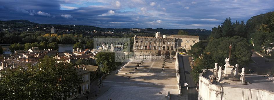 Europe/France/Provence-Alpes-Côte- d'Azur/84/Vaucluse/Avignon: depuis le Palais des Papes vue sur le Petit Palais - A l'arrière plan, le Rhone