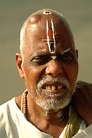 Portrait of a holy man at the annual Hindu pilgrimage to holy Pushkar Lake, Pushkar, Rajasthan State, India.