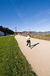 San Francisco, California, Enjoying Crissy Field east of the Golden Gate Bridge along the Golden Gate Promenade.  Photo copyright Lee Foster. Photo #1-casanf76300.