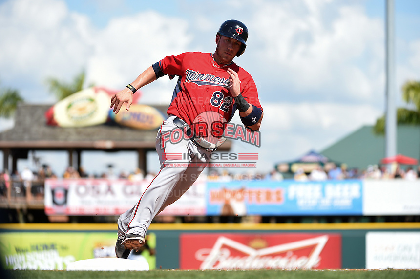 Minnesota Twins catcher Mitch Garver (82) during a Spring Training game against the Pittsburgh Pirates on March 13, 2015 at McKechnie Field in Bradenton, Florida.  Minnesota defeated Pittsburgh 8-3.  (Mike Janes/Four Seam Images)