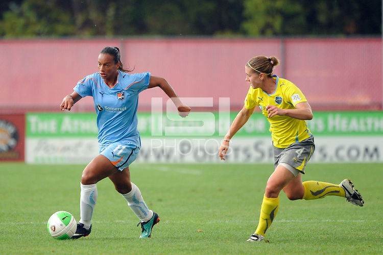 Rosana (11) of Sky Blue FC is chased by Jen Buczkowski (4) of the Philadelphia Independence. Sky Blue FC defeated the Philadelphia Independence 1-0 during a Women's Professional Soccer (WPS) match at Yurcak Field in Piscataway, NJ, on August 22, 2010.
