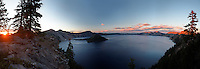 Panoramic view of Crater Lake at sunset, Crater Lake National Park, Oregon, USA, North America