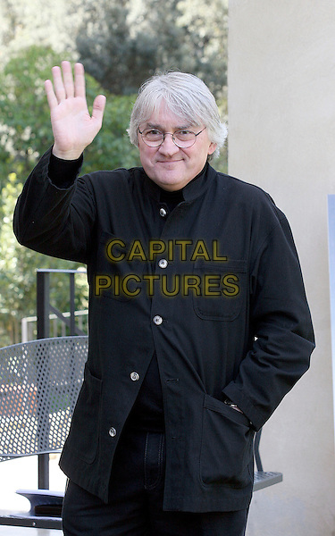 "LAJOS KOLTAI.Photocall for ""Un Amore Senza Tempo"", Rome, Italy..April 14th, 2008.half length black shirt glasses hand waving palm .CAP/CAV.©Luca Cavallari/Capital Pictures."