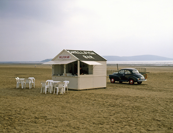 A shellfish bar on the beach at Weston-super-Mare in the West of England.