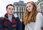 "BRUSSELS - BELGIUM - 23 March 2016 -- Belgium in mourning after the terrorist attack in  Maelbeek metro station - EU quarters, and the Brussels airport in Zaventem. -- Lilia Shea and Emma Thompson (USA) at the ""memorial"" in the city center by the Bourse. -- PHOTO: Juha ROININEN / EUP-IMAGES"