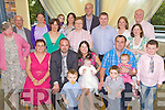 Celebrations - Richard & Louise Egan from Causeway, seated centre along with godparents Helen Moriarty (seated left) and Roy Egan (seated right) having a wonderful time with family and friends at the Christening party held for their daughter Anna in The Ballyroe Heights Hotel on Sunday following the ceremony in St John's Causeway..waiting on names..................................................................................................................................................................................................................................... ............